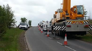 Lanarkshire Vodafone Huawei yellow roadside crane
